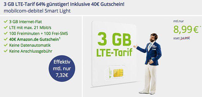 Knaller! o2 Smart Light mit 3GB LTE für eff. 7,32€ mtl. dank 40€ Amazon Gutschein