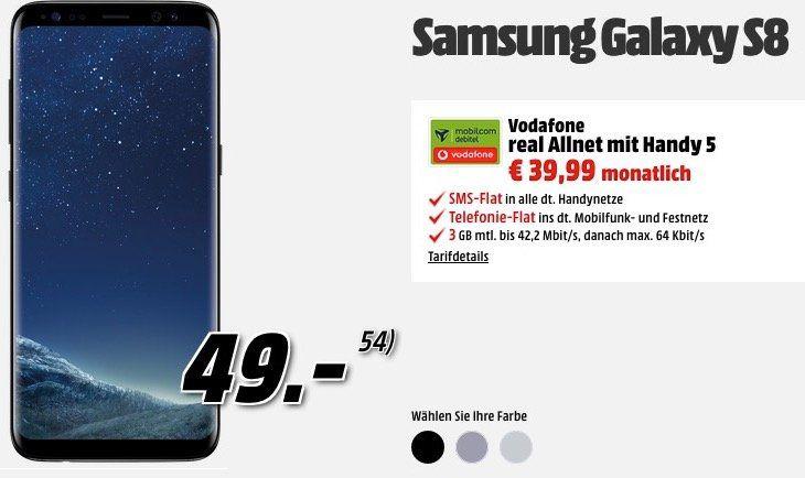 Vodafone Allnet +  3GB (42 MBit) 39€ mtl. + Samsung Galaxy S8 für 49€