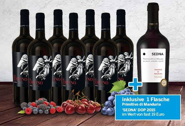 7 Flaschen Divino Syrah + 1 Flasche Sedna Primitivo di Manduria für 39,90€