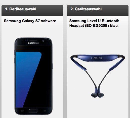 Samsung S7 + Samsung Level U  + Otelo AllNet + 3GB Daten für 29,99€ mtl.