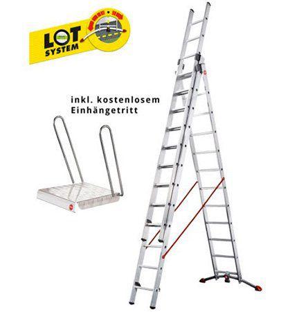 Vorbei! Hailo ProfiLOT 3x12 Sprossen Alu Kombileiter inkl. Einhängetritt für 215,99€ (statt 260€)