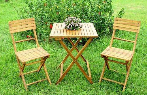 Gartenset (2 Stühle + Tisch) aus Akazienholz für 43,85€