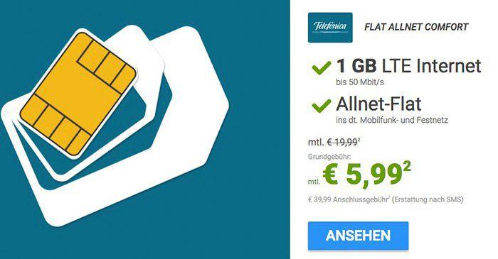 o2 Allnet Comfort mit 1GB LTE für 5,99€ mtl. + gratis 100€ Reisegutschein