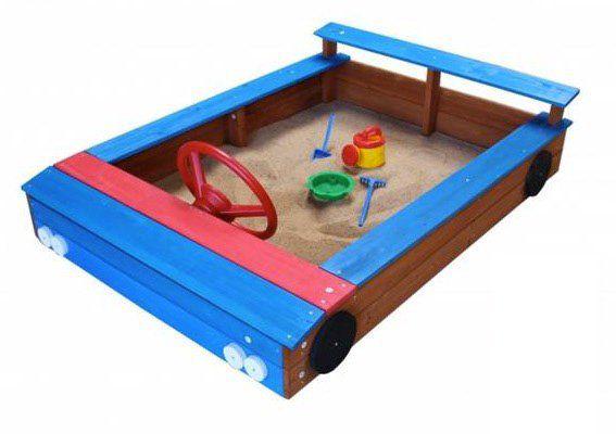 Sandkasten in Auto Form aus Holz mit Stauraum für 69,95€ (statt 79€)