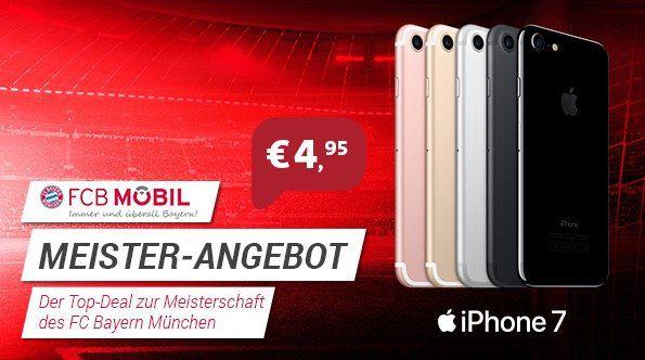 Telekom FCB Mobil M Premium Tarif mit Vorteilen + 3GB LTE + iPhone 7 oder Galaxy S8 für je 4,95€