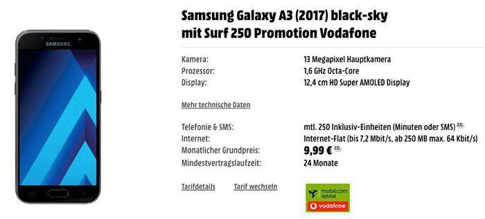 Samsung Galaxy A3 (2017) + kleiner Vodafone Tarif mit 250MB für 9,99€mtl.