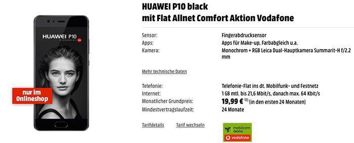 Huawei P10 Smartphone für 1€ + Vodafone Tarif mit 1GB für 19,99€ mtl.