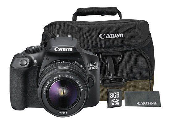 Canon EOS 1300D Spiegelreflex + 18 55mm Objektiv + Tasche + Speicherkarte für 299€ (statt 380€)