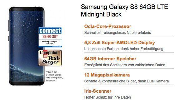 Samsung S8 mit 64GB + Vodafone AllNet + SMS Flat + 8GB Daten (bis zu 42,2 Mbit/s) + EU roaming für 29,99€