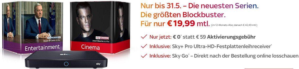 Sky Entertainment + Sky Cinema inkl. UHD Festplattenreceiver, SkyGo, SkyOnDemand, SkyBoxSets und 0€ Aktivierungsgebühr   für 19,99€/Monat