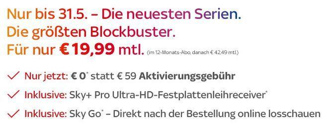 Sky Entertainment + Cinema inkl. Pro UHD Receiver und 0€ Aktivierungsgebühr für 19,99€ mtl.