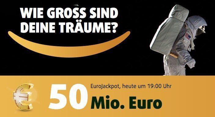 1 Tippfeld Eurojackpot für 2 Ziehungen (50 Mio. Jackpot) + 25 Rubbellose für 0,99€   nur Neukunden