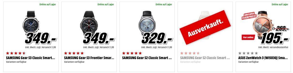 Media Markt: günstige Wearables   z.B. Asus Zenwatch 2 Smartwatch statt 150€ für nur 115€ uvm.