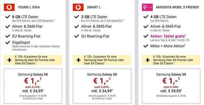 Knaller! Samsung Galaxy S8 ab 1€ + div. Tarife ab 29,99€ mtl. + 120€ Gutschein für eine Samsung Gear S3 Frontier oder S3 Classic