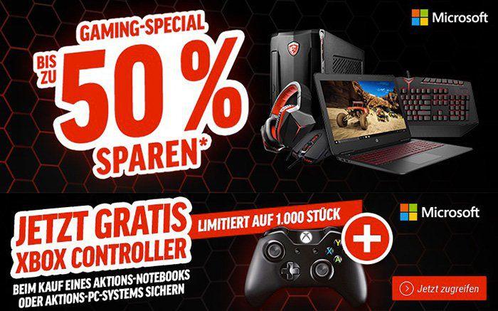 Bis zu  50% auf Gaming Notebooks, PCs & Zubehör + gratis Xbox Controller