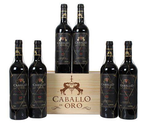 6 Flaschen Caballo de Oro Rotwein in hübscher Holzkiste für 41,94€   mit Gold prämiert!