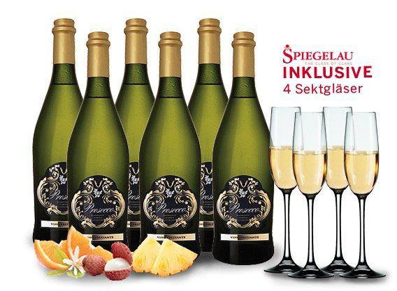 6 Flaschen Prosecco Frizzante Silvio + 4 Sektgläser für 44,94€