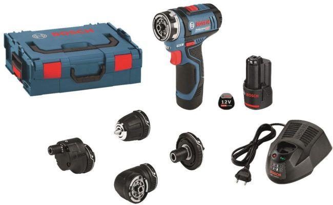 Vergriffen! Bosch GSR 12 V 15 FC FlexiClick   Akkuschrauber mit 2x 2,0 Ah + Zubehör statt 180€ für 149€