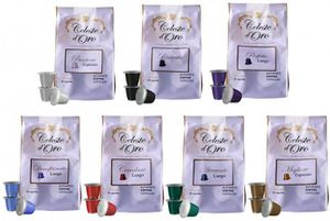 Celeste dOro Probierpaket   100 Kapseln Nespresso kompatible + gratis Kapselhalter + Untersetzer für 29,99€