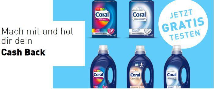 Coral Waschmittel gratis testen dank Geld zurück Garantie