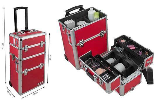 Aluminium Reisetrolley / Reisekoffer / Beautycase in Rot 60L mit Rollen für 59,90€ (statt 80€)