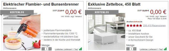 Druckerzubehör ohne Mehrwertsteuer + 3 gratis Artikel (z.B. elektrischer Flambierbrenner) ab 5€ MBW