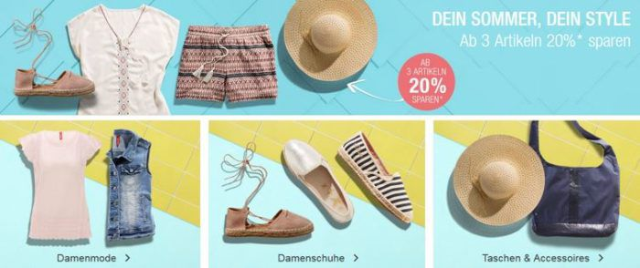 Galeria Kaufhof: 20% Rabatt ab 3 Artikeln aus den Bereichen Damenmode, Schuhe, Taschen und Accessoires bis Mitternacht