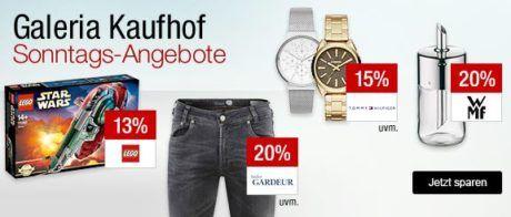 Galeria Kaufhof Sonntagsangebote   z.B. 15% Rabatt auf alle Düfte, Pflege und Make Up   20% Rabatt auf Gesellschaftsspiele, Schreibwaren, WMF ....