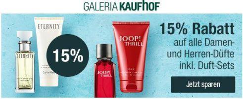 Galeria Kaufhof: 15% Rabatt auf alle Damen  und Herrendüfte inkl. Duft Sets bis Mitternacht!