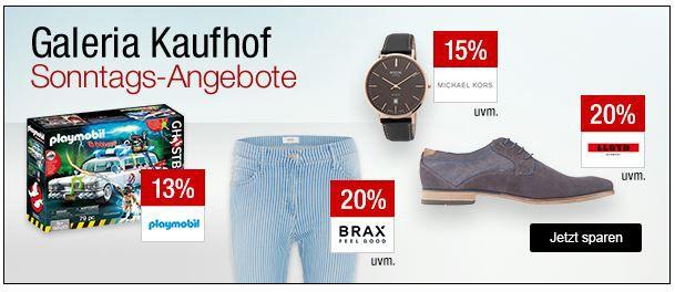 Galeria Kaufhof Sonntagsangebote   z.B. 15% Rabatt auf Whisky, Parrot Drohnen, DUPLO, G Star und mehr