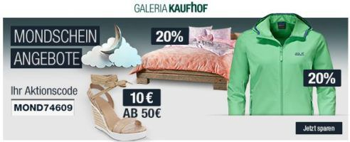20% Rabatt auf Besteck, Marken Sportbekleidung uvm.   Galeria Kaufhof Mondschein Angebote
