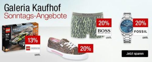 Galeria Kaufhof Sonntagsangebote   z.B. 20% Rabatt auf Golfartikel, Uhren & Schmuck, Weine   15% auf Spielwaren von Fisher Price und ....