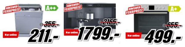 Media Markt: Haushaltsgroßgeräte Sale   günstige Herde, Waschmaschinen, Kühlschränke