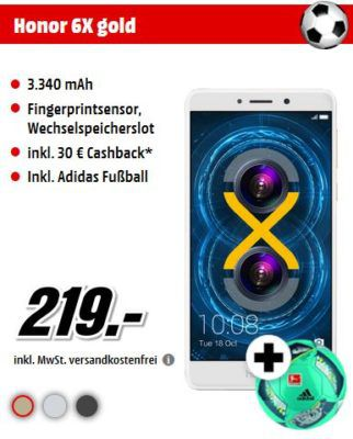 Honor 6X   Android Smartphone + Adidas Fußball für 219€