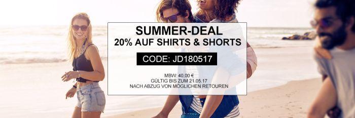 20% Extra Rabatt auf Shirts und Shorts bei Jeans Direct bis Mitternacht!