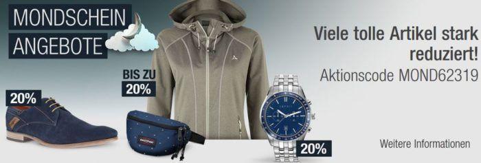 20% Rabatt auf Sportmarken, ESPRIT Uhren & Schmuck uvm.   Galeria Kaufhof Mondschein Angebote