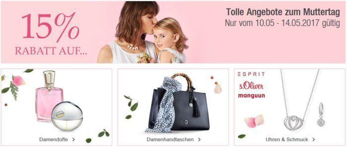 Galeria Kaufhof Muttertagsaktion mit z.B. 15% Rabatt auf Damendüfte, Uhren, Schmuck und Accessoires bis Mitternacht