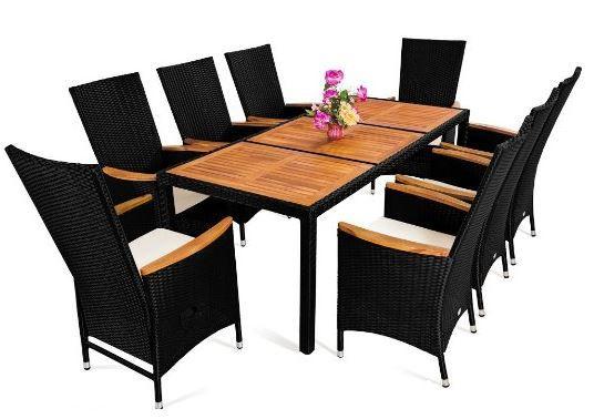 Polyrattan Sitzgruppe: 1 Tisch + 8 Stühle + 8 Sitzkissen statt 550€ für 469,95€