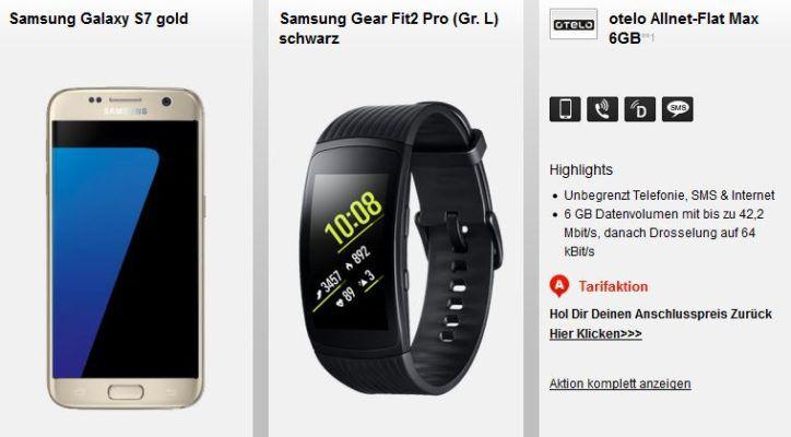 Samsung S7 + Samsung Gear Fit2 Pro (Wert 549€) + Otelo AllNet + 6GB Daten für 29,99€ mtl.   TOP!