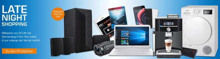 Saturn Late Night Shopping Übersicht   u.a.:  HP Stream 14 ax032ng Notebook für 279€