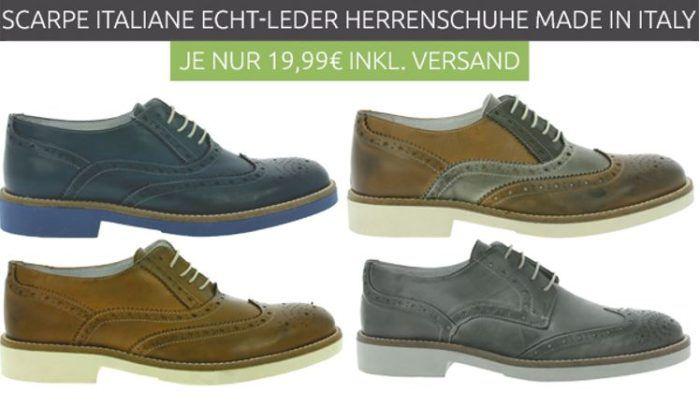 Scarpe Italiane Echtleder Schuhe für je 19,99€ Restgrößen (statt 45€)