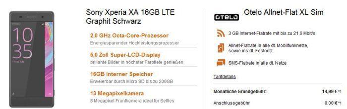 Sony Xperia XA 16GB LTE + Otelo Allnet + SMS Flat + 3GB für nur 17,03€ mtl.