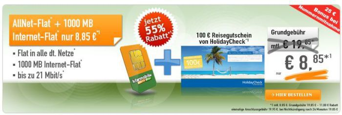 Telekom Allnet Flat + 1GB für 8,85€ mtl. + 100 € HolidayCheck Reisegutschein