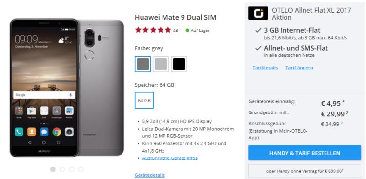 otelo Allnet Flat XL (Vodafone) mit 3GB für 29,99€ mtl. + Huawei Mate 9 für 4,95€