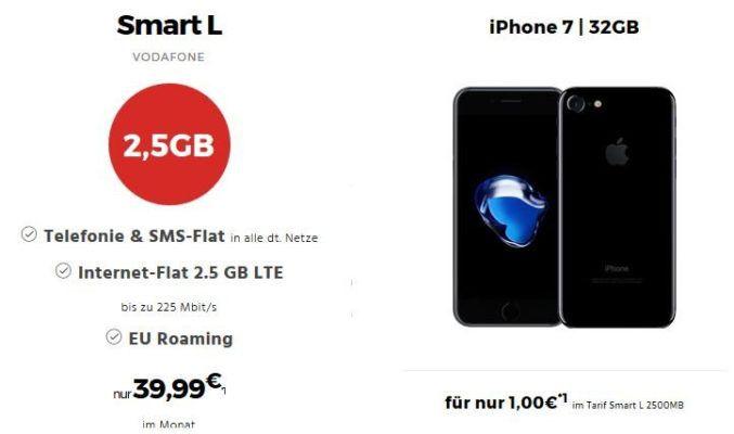 Apple iPhone 7 + CoCar Multimediasystem + Vodafone SL Allnet + SMS Flat + 2,5 GB LTE (375 Mbit/s) für nur 39,99€ mtl.