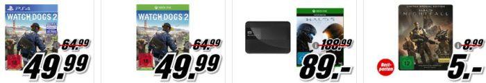 3 Aktions Games für PS4, XBox one, Nintendo 3D für 55€ uvam. im Media Markt Dienstag Sale