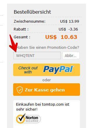 Einmannzelt in grün für 10,08€