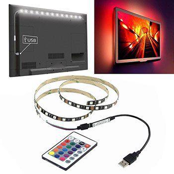 1m / 2m / 3m USB RGB LED Streifen (Typ 5050) mit Regler & Fernbedienung ab 3,45€