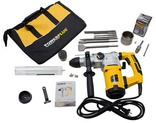 SDS Plus Bohrhammer (1600W,4.250 S/min, 6 J, Doppel Antivibrationssystem) inkl. Zubehör für 77,50€ (statt 110€)