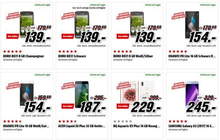 Media Markt Smartphone Geburtstagsknaller: z.B. ZTE Axon 7 64GB statt 389€ für 229€